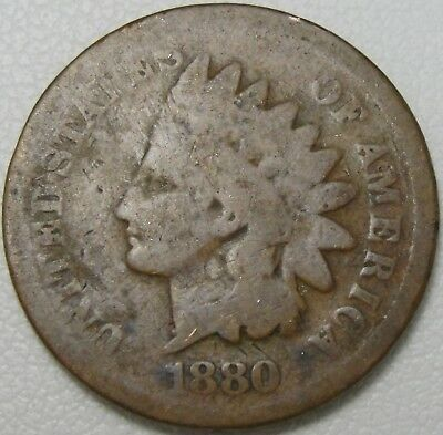 1880 1C Indian Cent, IHC, Indian Head Penny, Copper, #11207