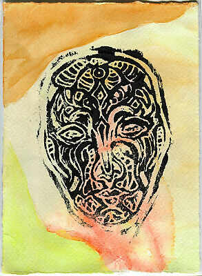 Vizard in Earth - Original Abstract Mask Block Print Painting - Art By AJM