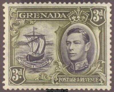 1938 Grenada 3d Black & Olive Green perf 13½x12½, SG 158a, MH