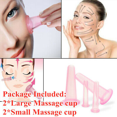 4pcs/set Facial Face Eyes Silicone Cupping Vacuum Suction Lifting Massage Cup