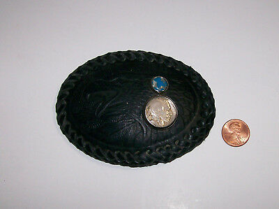 Vintage Hand Tooled Leather Belt Buckle with EAGLE and BUFFALO NICKEL COIN