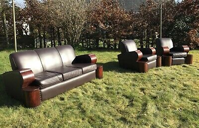 Art Deco Suite Leather Loveseat With Two Armchairs Reupholstered Very Good Cond.