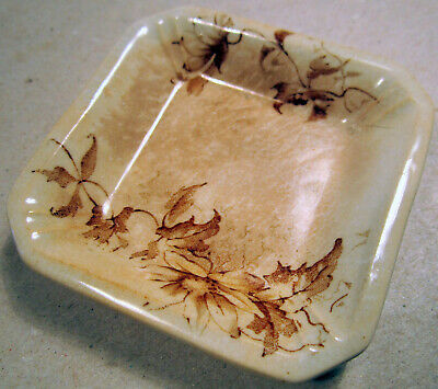 Butter Pat Plate Brown Transferware Antique Rare Square Hard Find Table China