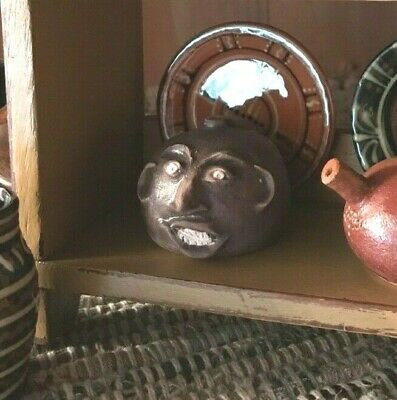 """Miniature Redware Signed Face / Buggy Jug -""""Edgefield Redux"""" - Signed & Numbered"""