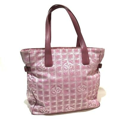 5ffc526c136d AUTHENTIC CHANEL CCCC Mark New travel line GM Shoulder Bag Tote Bag Pink  A15825