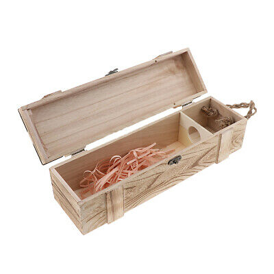 Personalized Single Bottle Wooden Wine Storage Box Carrier Case with Handle
