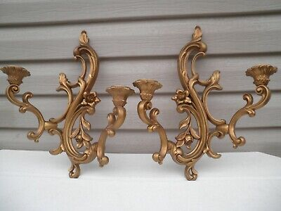 Vintage Gold Hollywood Regency Style Floral 4 Candle Wall Plaque Pair