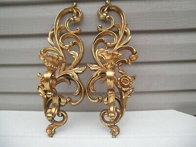 Vintage  Pair  Hollywood Regency Syroco Brand Wall Candle Holders