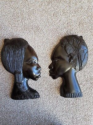 Ebony Man Woman Tribal Art Carved Antique Head Profile Wall Hanging Pair (2).