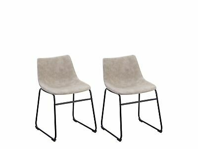 Dining Chairs Set of 2 Fabric Sled Base Armless Kitchen Retro Beige Batavia