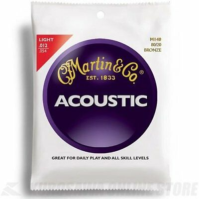 Martin M140 Light 80/20 Bronze Acoustic Guitar Strings. 12-54 Set of 6.