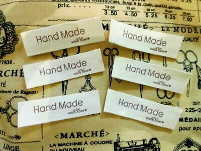 "Handmade With Love Labels 5mm 2"" Sew On Clothing Labels Tags Unbleached COTTON"