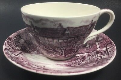 Olde English Countryside Made In England JOHNSON BROS Pink Transfer Cup Saucer