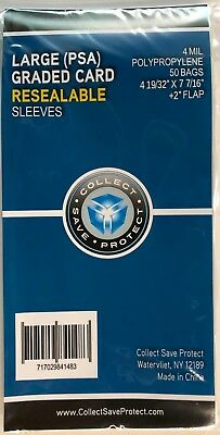 """50 New! CSP LARGE PSA Resealable Graded Card Slab Poly Sleeves 4 19/32 x 7 7/16"""""""