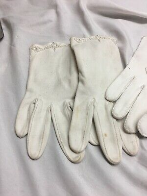 Vintage Ladies White Gloves 2 Pair