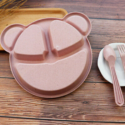 3pcs Baby Plate Children Cartoon Food Dishes Wheat Straw Bowl Spoon Fork Supply