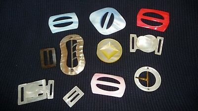 #512Z  vtg BELT BUCKLE Women`s MIXED  LOT 11 Art Deco  MOTHER OF PEARL MOP