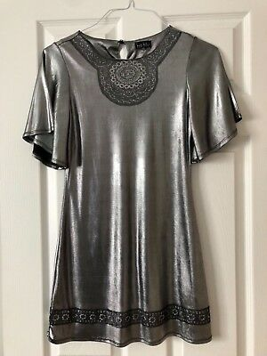 6070b828f Nicole Miller Girls Dress Shiny Silver Glitter Detail Youth Size 12
