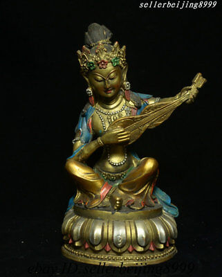 Collect Old Tibetan Buddhism Bronze Gilt Fairy of Wonderful Sound Goddess Statue