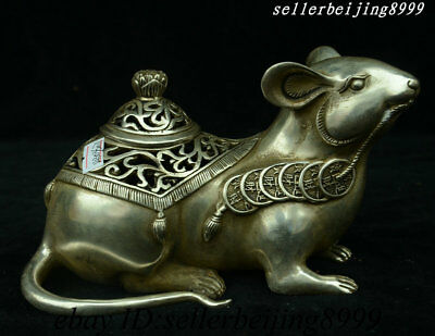 Chinese Dynasty Silver Feng shui 12 Zodiac Year Mouse Coin Incense Burner Censer