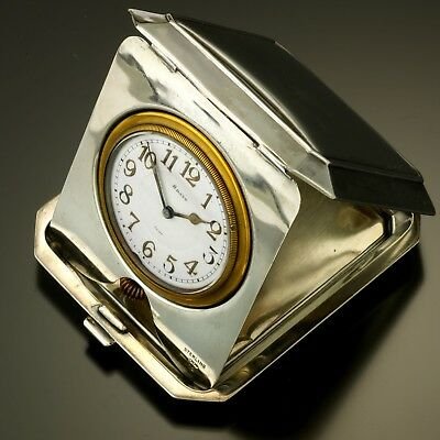 Sterling Silver Desk Clock CA1920s Octave Watch Co. Purse 8-Day Timepiece