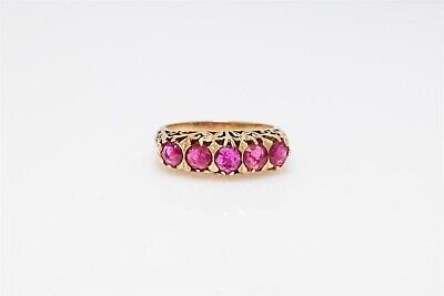 Antique 1930s DECO 3ct Natural BURMA Ruby 14k Yellow Gold Filigree Band Ring