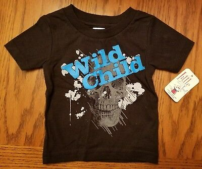 6 Mo LITTLE TEEZ ~ FUNNY BABY TSHIRT METAL ROCK BIKER WILD TEXT BLACK SKULL BOY