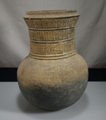 "Korean Silla Dynasty Pottery Stoneware 9.75"" Incised Jar  -  55403"