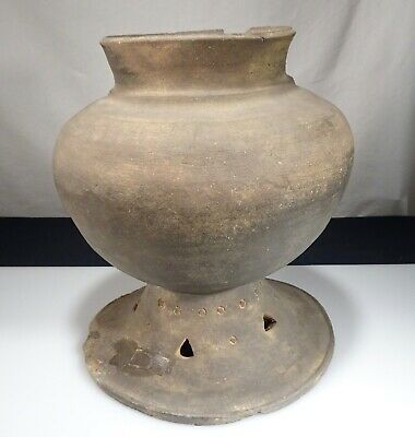 "Korean Silla Dynasty Pottery Stoneware 10"" Footed Pot -   55402"