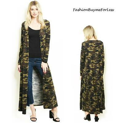 BOHO Haute Olive Camouflage Open Front Hippie Long Maxi Duster Cardigan S M L XL