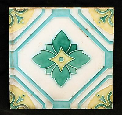 Salvaged Green & White Floral Tile