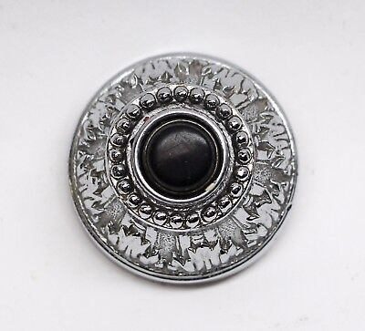 Salvaged Waldorf Silver Plated Ornate Doorbells with Black Button