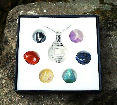 Reiki Energy Charged Cage Pendant & Natural Tumble Stone Crystal Chakra Kit