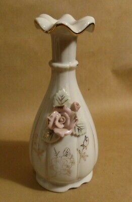 vintage mid century off white vase w applied pink flowers 6 in, gold leaf