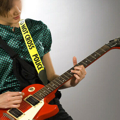 Yellow POLICE LINE Polyester + Leather Guitar Strap For Acoustic Folk Guitars