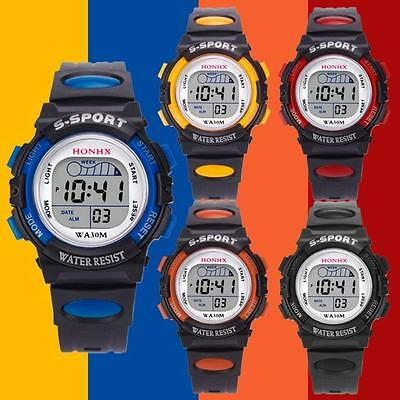 Waterproof Kids Boys Girls Digital LED Sports Watch Alarm Date Electronic Watch