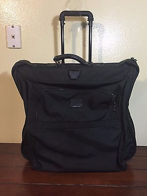 Tumi Vintage Black ballistic Nylon Wheeled Rolling Garment Bag Suitcase USA