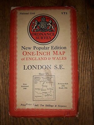 """Ordnance Survey New Popular Edition 1"""" Dissected map 171 London S.E (cloth) 1940"""