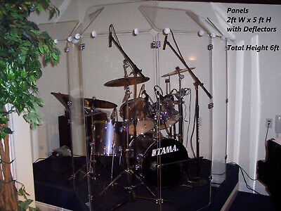 Acrylic Drum Shield Drum Screen DS4D L with Full length Hinges Total Height 6ft