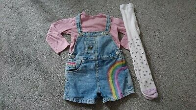 BMWT White Floral Blouse,Shorts /& Pink Tights Outfit from Next Age 12-18 Months