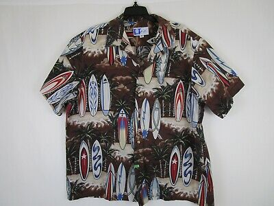 1a698c24 RJC Surfboards Palm Trees Hawaiian Shirt XL Aloha Brown Cotton Robert J  Clancey