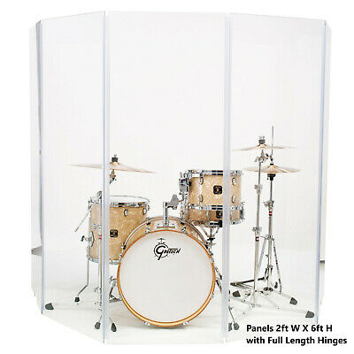 Acrylic Drum Shield Drum Screen DS6 L with Full length Hinges Total Height 6ft