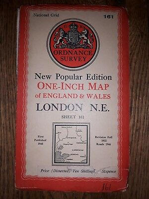 """Ordnance Survey New Popular Edition 1"""" Dissected map 161 London N.E (cloth) 1940"""
