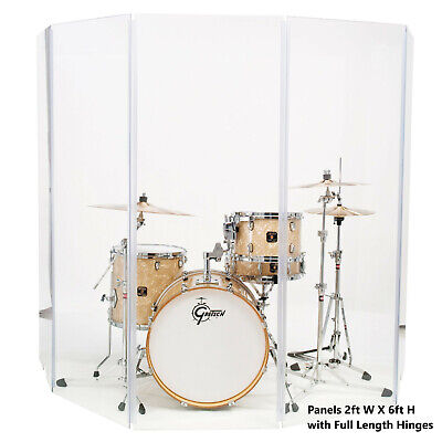 Acrylic Drum Shield Drum Screen DS65 L with Full length Hinges Total Height 6ft
