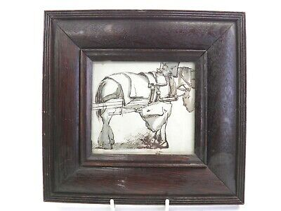 Antique 19th century pen & ink drawing by G Derby portrait of a shire horse