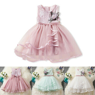 Floral Toddler Baby Girls Lace Tutu Dress Kids Sleeveless Princess Pageant Gown