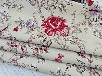 Lovely antique/vintage French block printed cotton/ linen 19th c. design