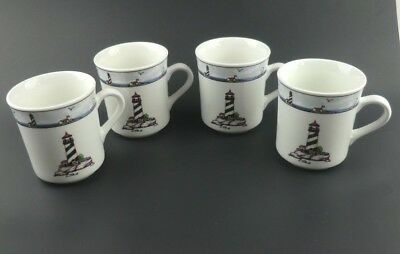 Totally Today Coastal Lighthouse Dinnerware Set Of 4 Cups Mugs