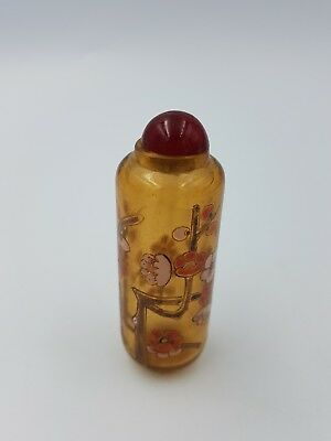 Vintage Chinese Amber Glass Snuff Bottle Hand Painted Pink Plum Blossom Floral