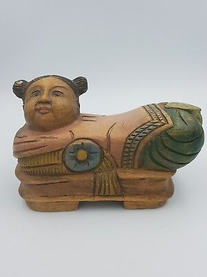 Vintage Chinese Wooden Hand Carved Painted Girl Shaped Opium Pillow Footed Heavy